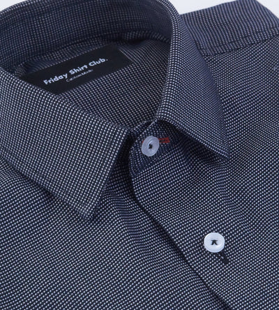 Black Gray Checkered Mens Casual Shirt Top View Modern Collar