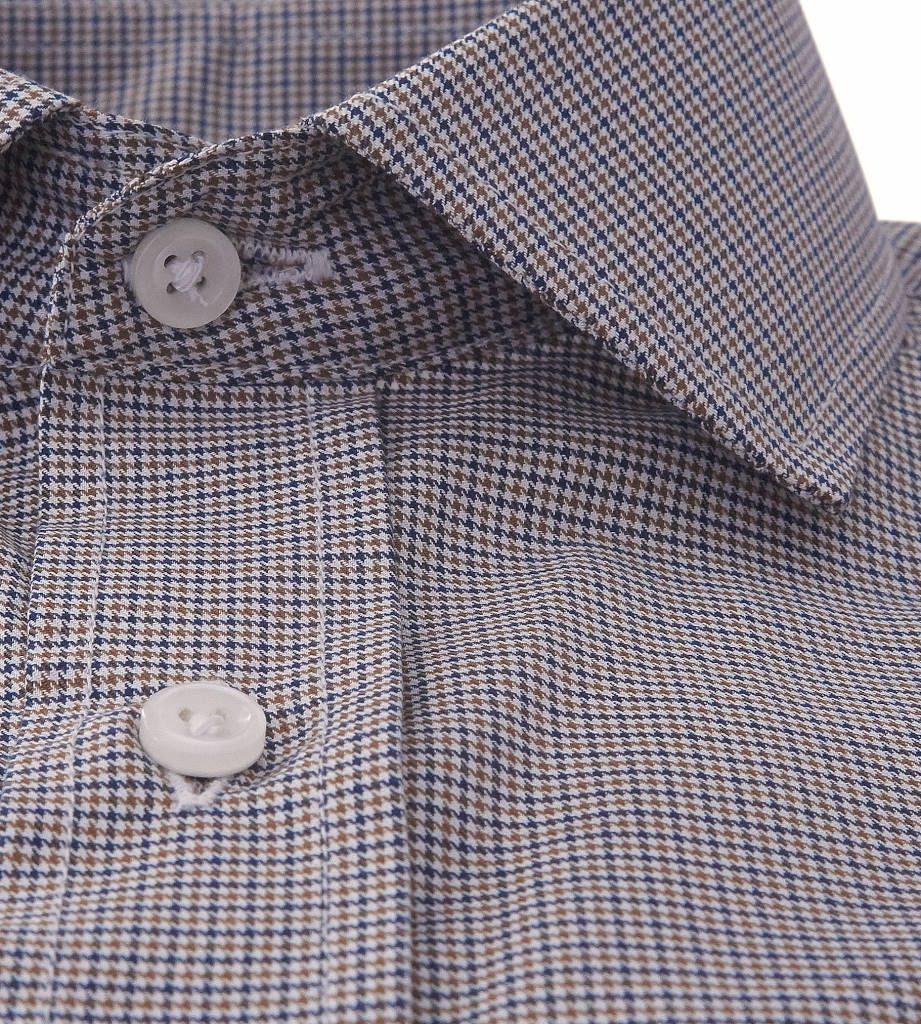 Placket view of men's casual dress shirt in brown houndstooth pattern