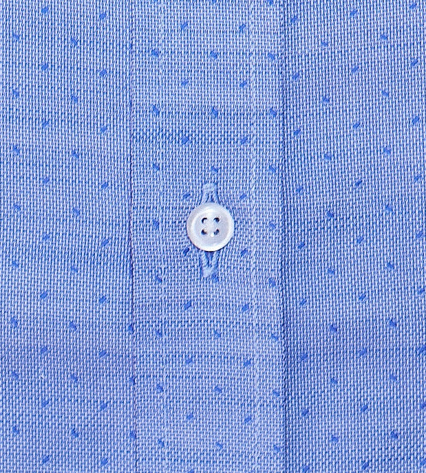 Closeup Of Button And Placket Of Light Blue Purple Mens Casual Shirt