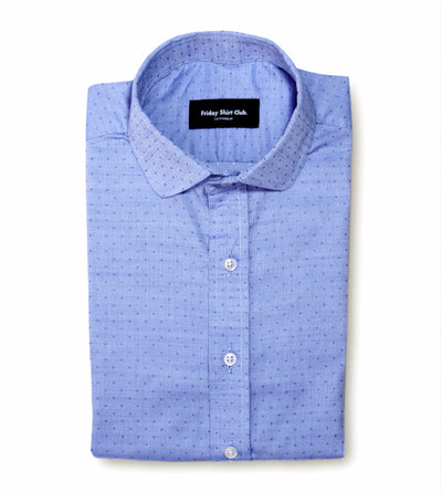 Light Blue Purple Mens Casual Shirt With Rounded Club Collar Flatlay