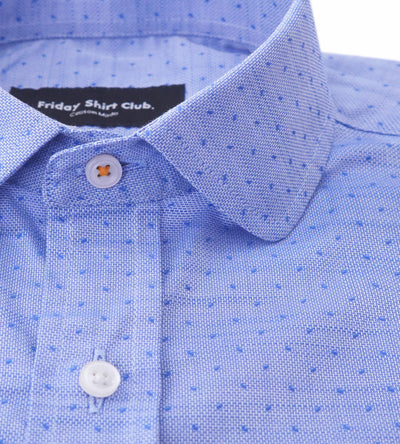 Detailed Front View of Rounded Club Collar With Thread Contrast Of Light Blue Purple Mens Casual Shirt