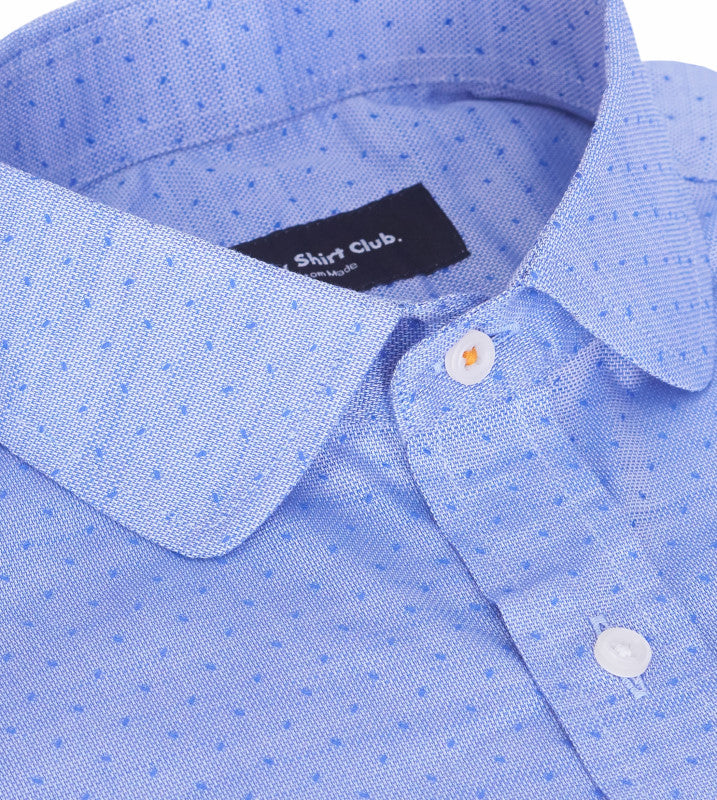Detailed View of Rounded Club Collar With Thread Contrast Of Light Blue Purple Mens Casual Shirt