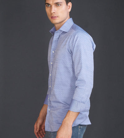 Model Wearing Light Blue Purple Mens Casual Shirt