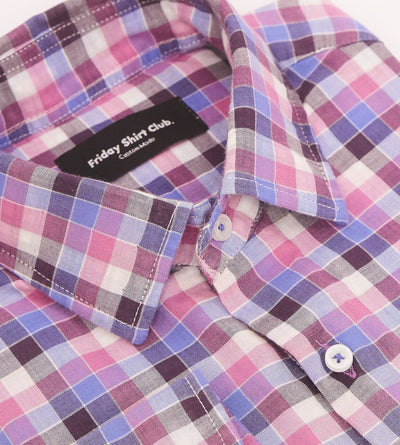 Shades of Retro Pink Checkered Casual Shirt Collar