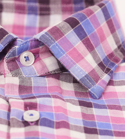 Shades of Retro Pink Checkered Casual Shirt Placket