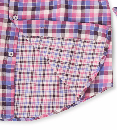 Shades of Retro Pink Checkered Casual Shirt Inside Fabric