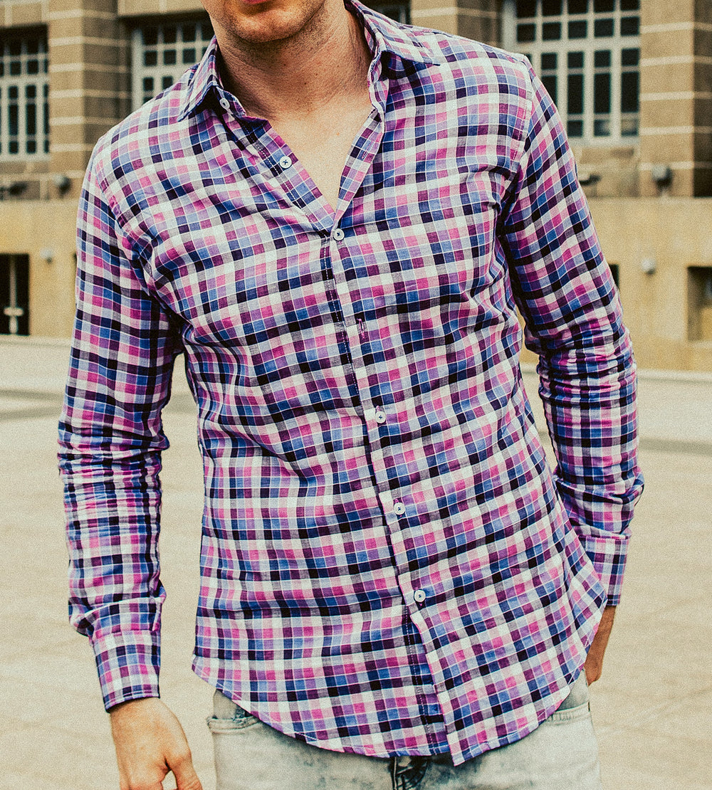 Shades of Retro Pink Checkered Casual Shirt Model