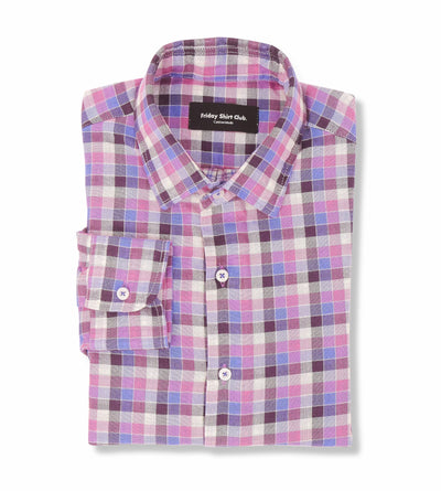 Shades of Retro Pink Checkered Casual Shirt