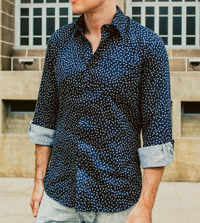 The Ikebana 2 Blue Floral Casual Shirt Male Model
