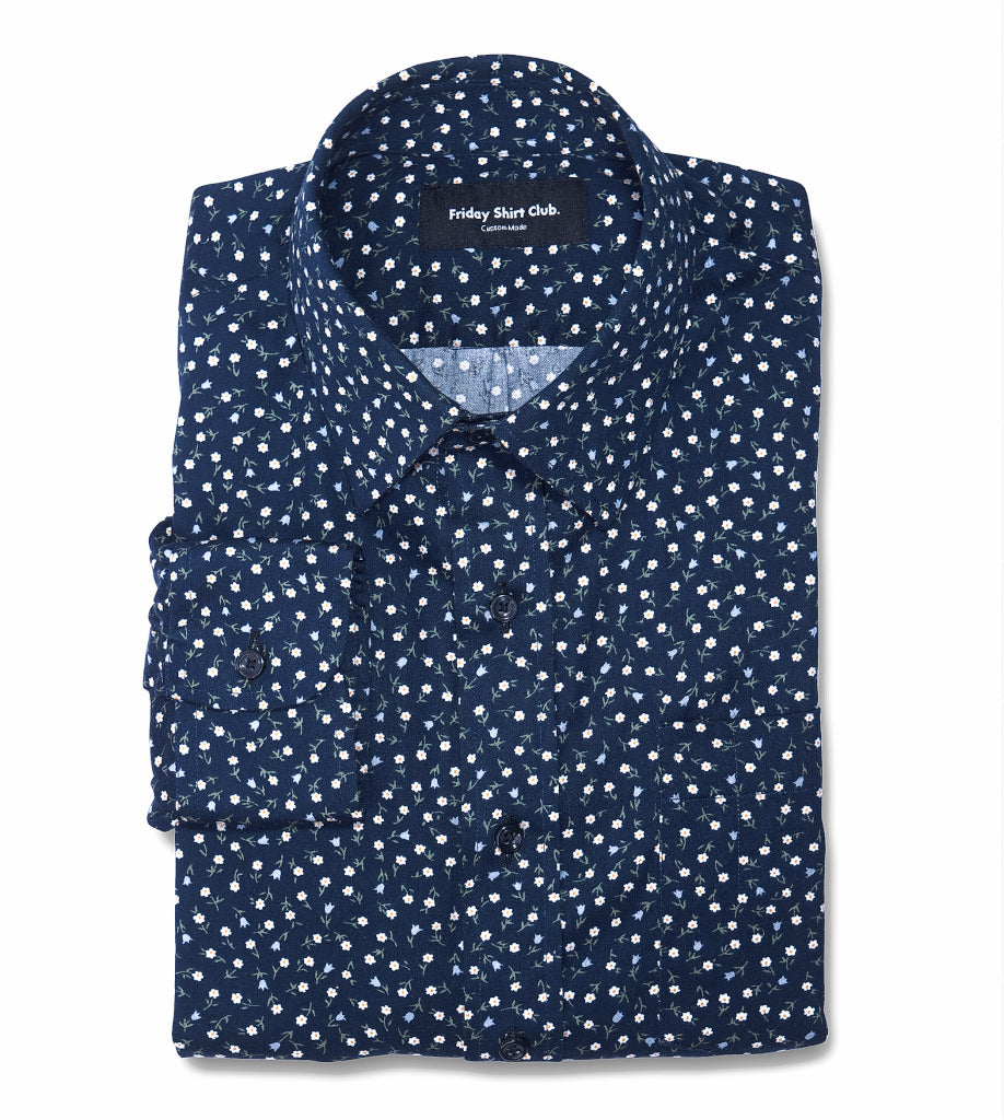 The Ikebana 2 Blue Floral Casual Shirt