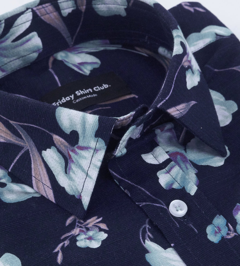 White Cosmos Blue Linen Casual Floral Shirt