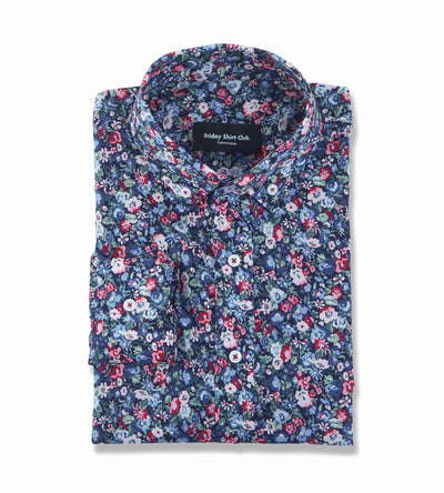 Flatlay of mens microfloral red blue button-down casual shirt