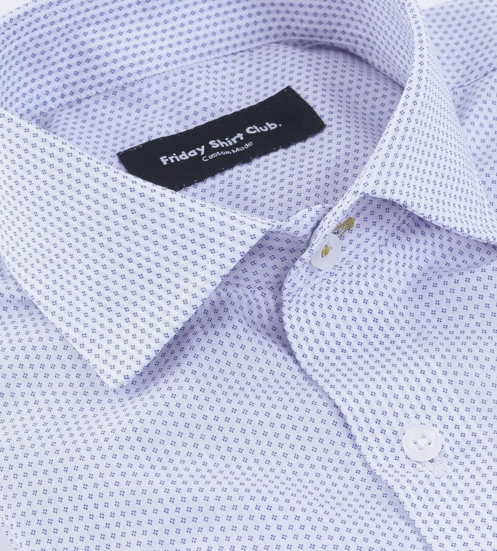 Collar view of men's dobby white casual shirt with blue pattern