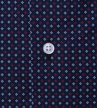 Closeup of men's black casual button up shirt with red club pattern