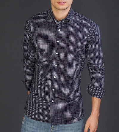 Full portrait of men's black casual button up shirt with red club pattern