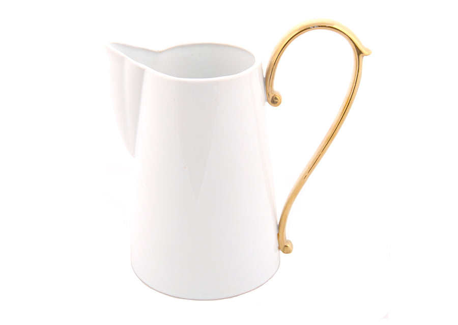 Pitcher Large Handle Gold-White