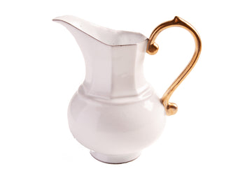 Pitcher Small Handle Gold-White