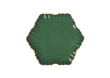 Cloud Cake Plate Round Gold-Green
