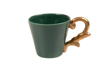 Double Espresso Cup Handle Gold-Green