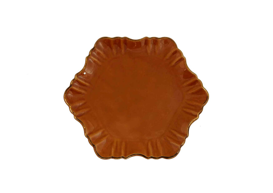 Cloud Cake Plate Round Gold-Mustard