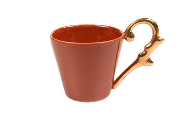 Double Espresso Cup Handle Gold-Coral