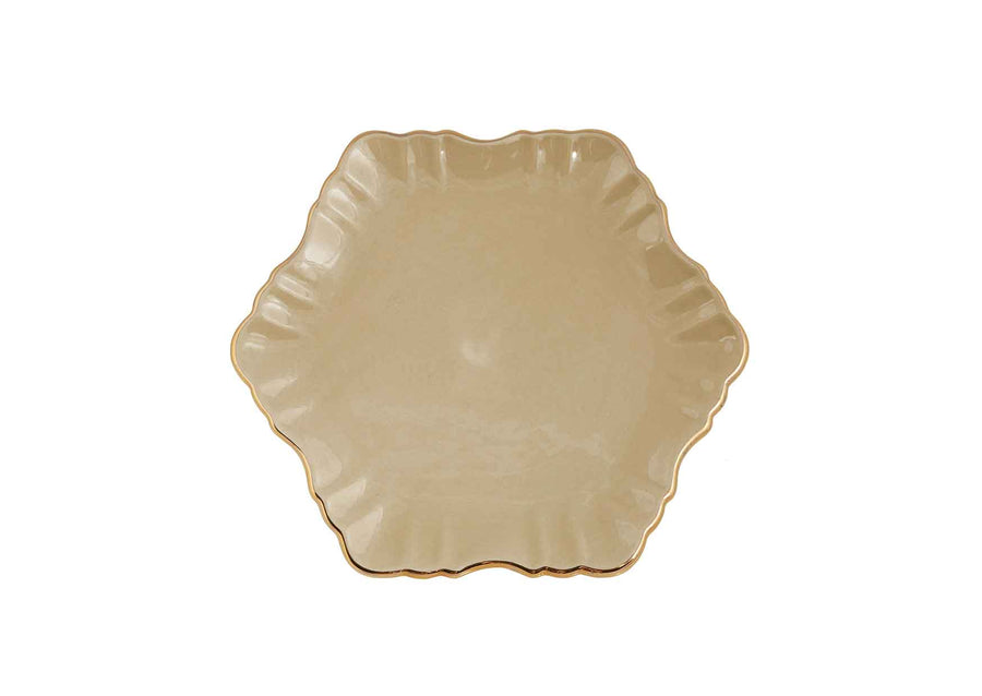 Cloud Cake Plate Round Gold-Beige