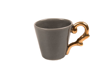Turkish Coffee Cup Handle Gold-Grey