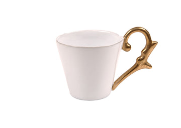 Turkish Coffee Cup Handle Gold-White