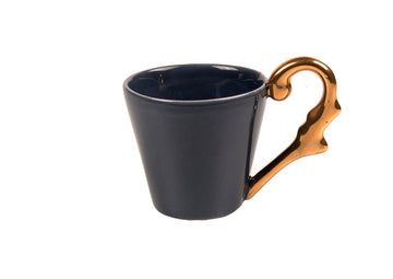 Turkish Coffee Cup Handle Gold-Navy Blue