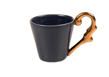 Double Espresso Cup Handle Gold-Navy Blue