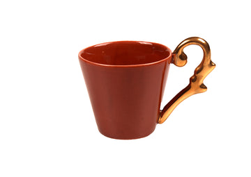Turkish Coffee Cup Handle Gold-Coral