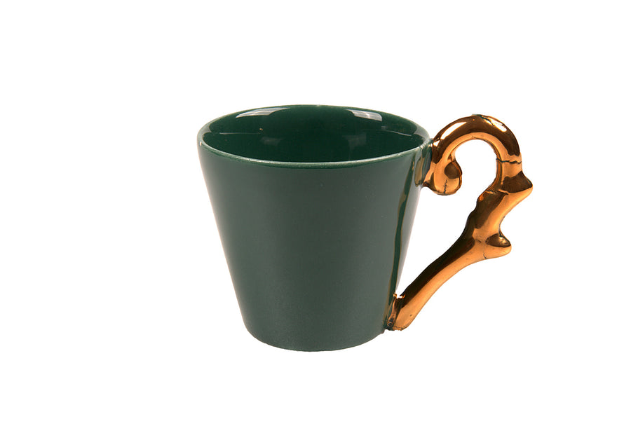 Turkish Coffee Cup Handle Gold-Green