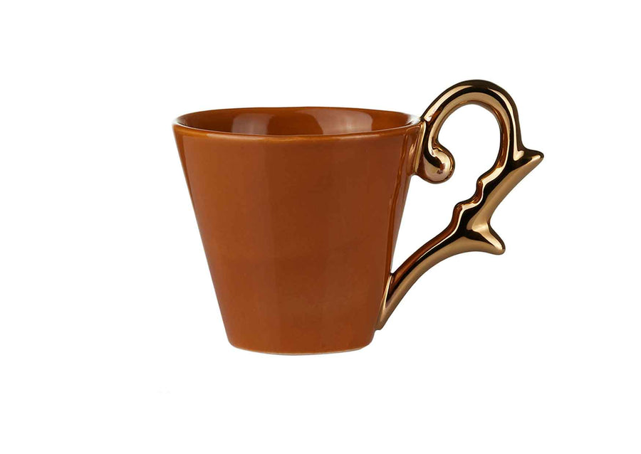 Double Espresso Cup Handle Gold-Mustard