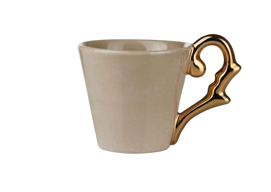 Double Espresso Cup Handle Gold-Beige