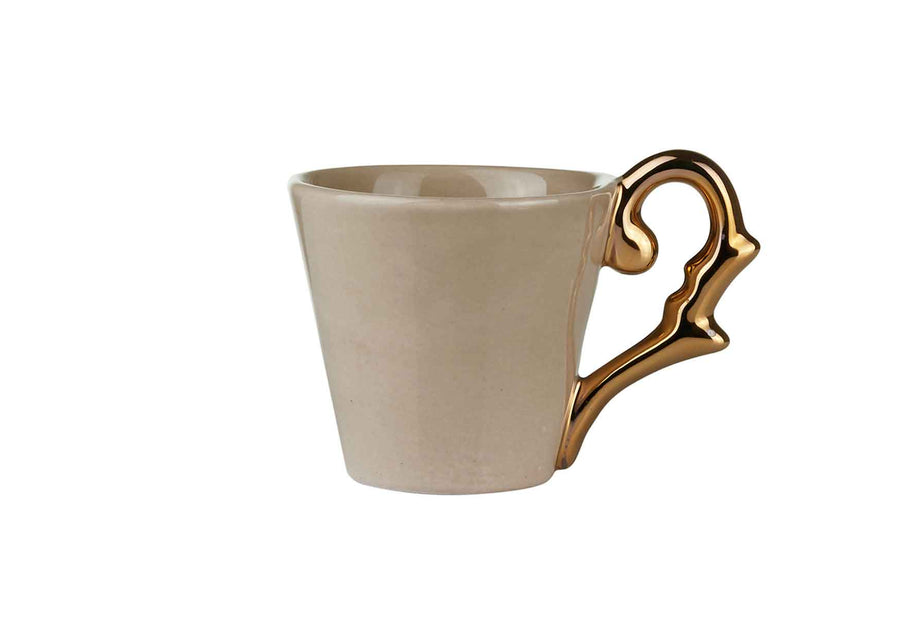 Turkish Coffee Cup Handle Gold-Beige