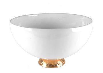 Bowl Large With Gold-White