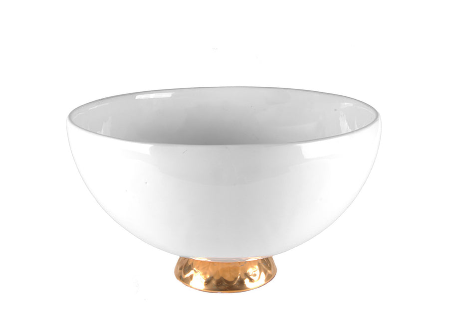 Bowl Medium With Gold-White