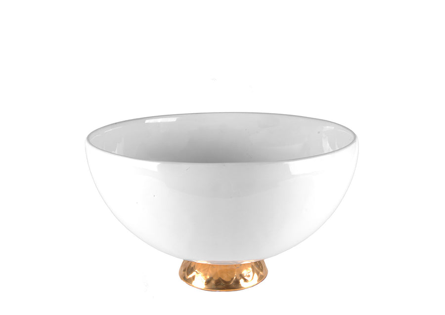 Bowl Small With Gold-White