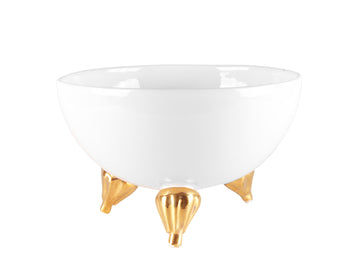 Three-Legged Bowl Medium With Gold -White