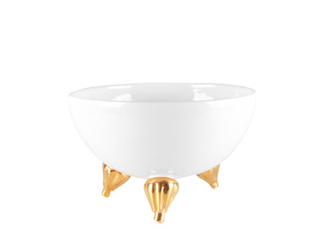 Three-Legged Bowl Small With Gold -White