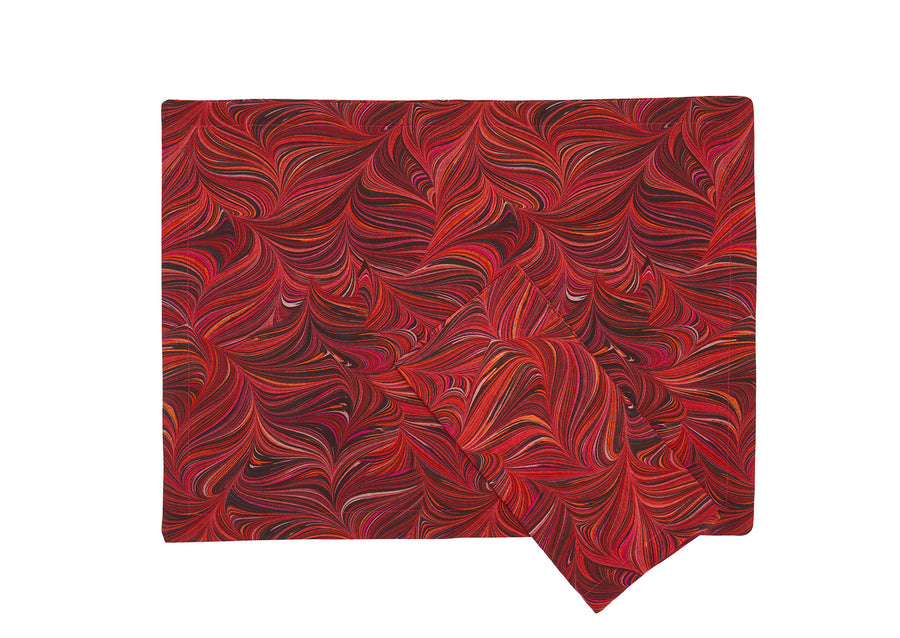 Place Mat + Napkin-Red Marbled