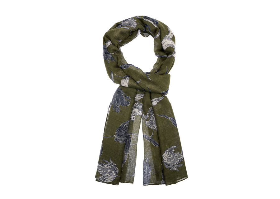 Floral Patterned Shawl - Green