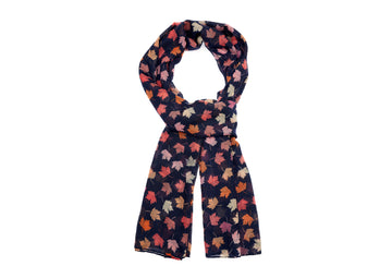 Colourful Leaf Patterned-Navy Blue