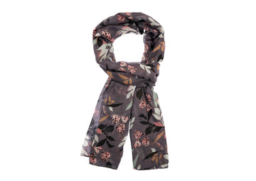 Leaf Patterned Scarf-Purple