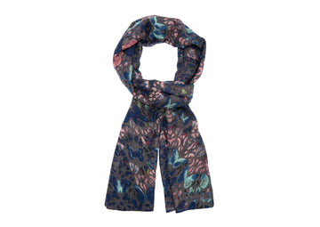 Butterfly Patterned Scarf-Blue
