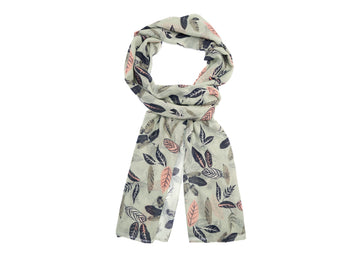 Leaf Patterned Scarf-Light Green