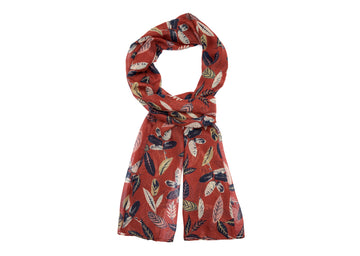 Leaf Patterned Scarf-Coral