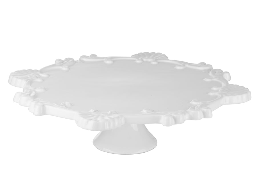 Serving Plate With Relief-White