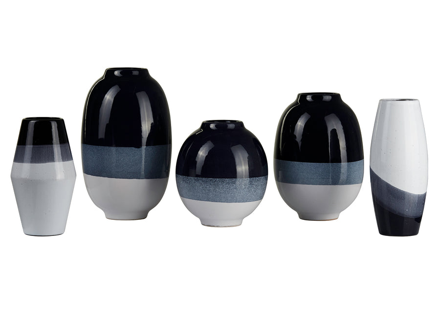 Vase Short-Navyblue and White