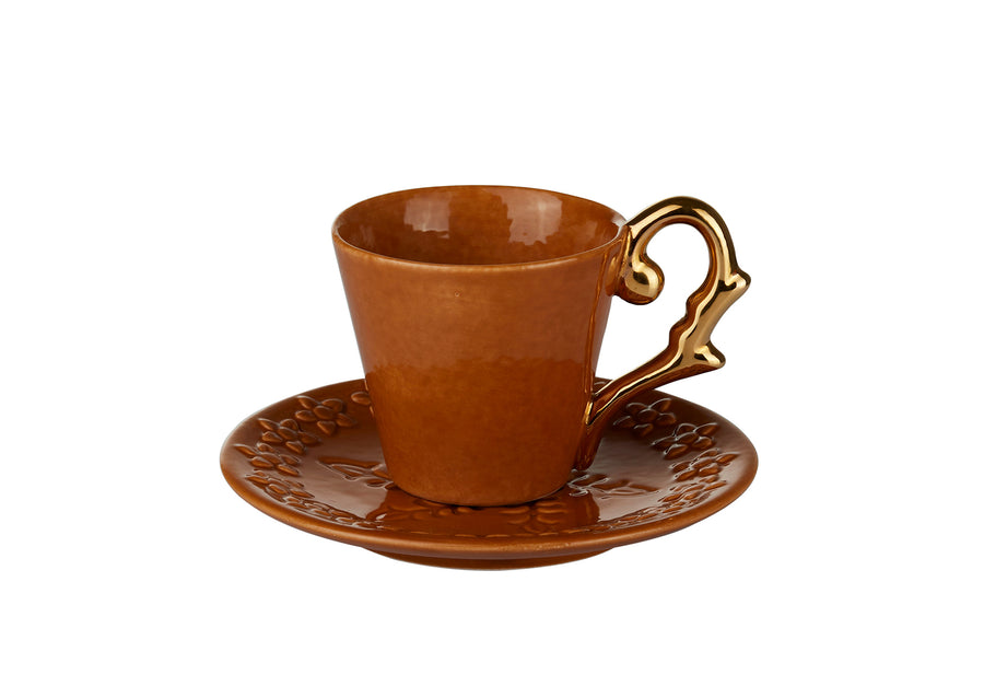 Turkish Coffee Cup Handle Gold-Mustard